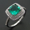 Top Quality Green Spinel Ring 925 Sterling Silver Zircon Jewelry
