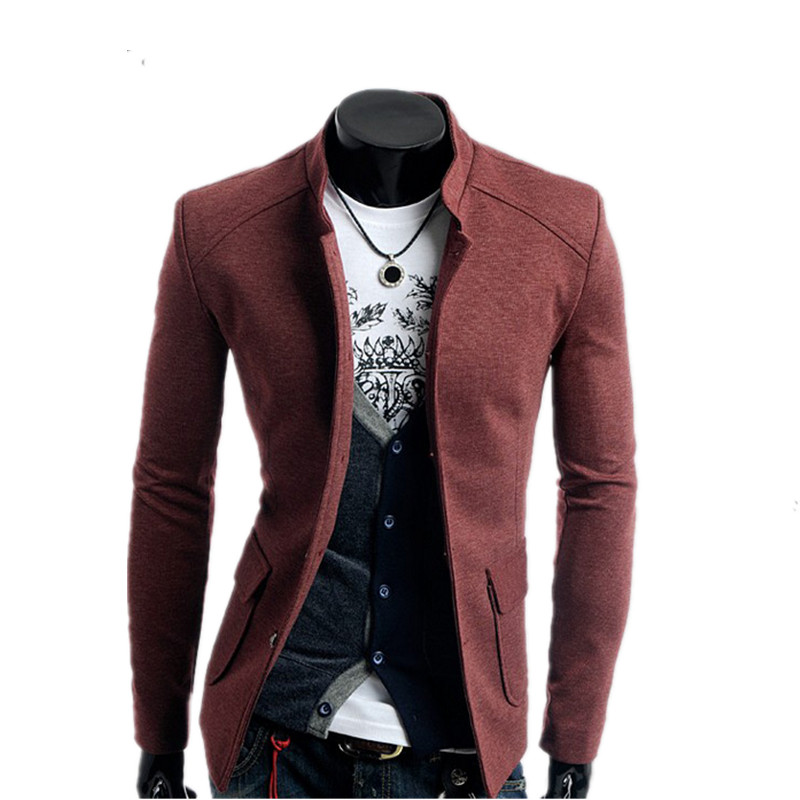 fashion korea style single-breasted design slim stand collar casual men blazer