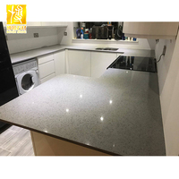Grey mirror sparkle artificial quartz stone slab countertop from china