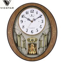 Melody rotating antique wooden pendulum wall clock