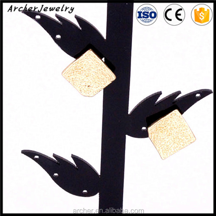 HOT SELL Fashion Simple Elegant square earring with concave dot EA-054