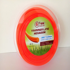 2.0mm hexagon Orange Color Brush Cutter Grass Trimmer Nylon Line Wire