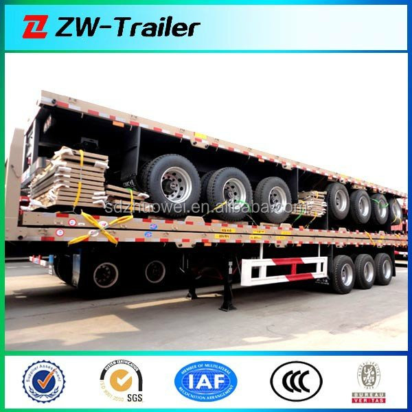 Tri-axle 40ft Flatbed Container Chassis in Truck Semi Trailer