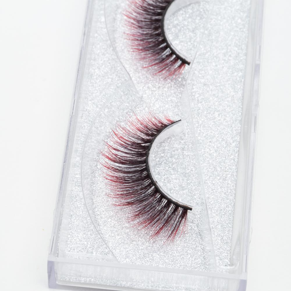 Seashine 3d faux mink colorful strip silk eyelashes red and black color eyelash <strong>for</strong> <strong>sale</strong>