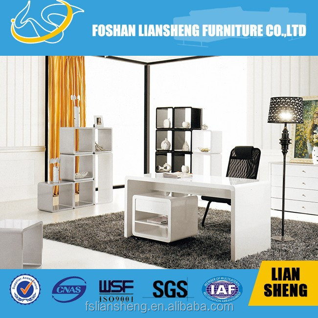 Pure HDF white painting work table with carve design cabinet