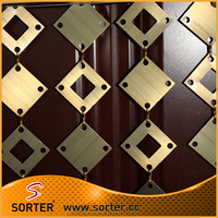 Aluminum panels link drapery metal curtain exhibition wall backdrop