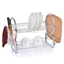 Metal chrome 8 shaped 2 tier display dish drainer rack