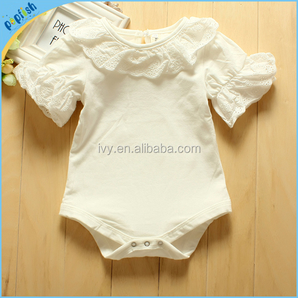 Chinese wholesale summer season short sleeve lace plain white girls snapsuit clothes soft baby cotton romper