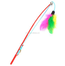 Kitten Cat Toy Mouse On A Fishing Rod Teaser Bell Feather Play Pet Dangler Wand KA1734
