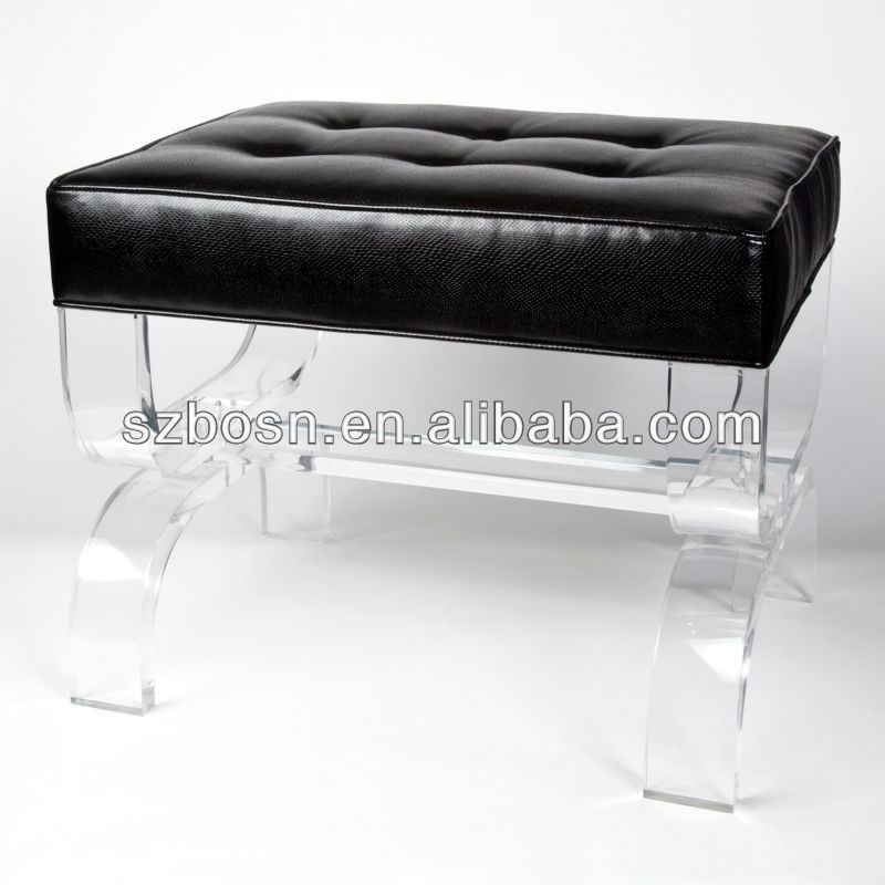 Black Acrylic Lizard Bauer Bench With Cushion/Perspex/Plexiglass/PMMA