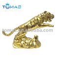 gold tiger metal trophy figurine for display