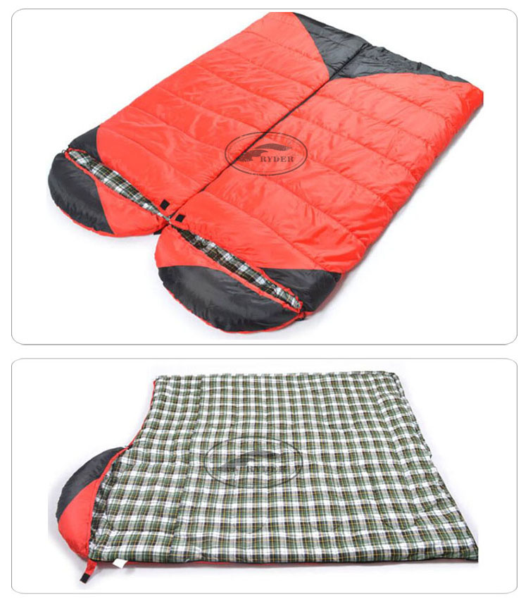Two Person Zipper Together Plaid lining Outdoor Travel Hiking Emergency Envelope Compact Winter Waterproof Sleeping Bag