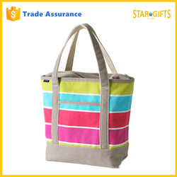 Custom Zippered Stripe Canvas Beach Tote Bag With Front Pocket