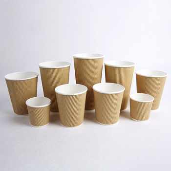 Wholesale ripple wall kraft paper cup with lids for hot coffee