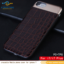 Fashion Design Good Quality Genuine Crocodile Pattern Leather Mobile Cell Phone Case for iphone 7plus