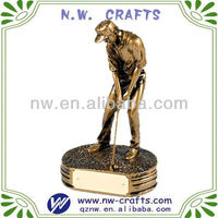Golf player decorative statue trophy