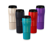 2017 Hot New products BPA Free double wall insulated plastic Magic Never Fall Non-spill Customized Thermal Suction Mug