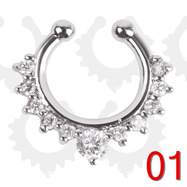 Silver color fake nose ring jewelry clicker faux septum Piercing clip non Body Hoop For Women + wholesale