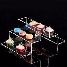Modern Stair-Step Clear Acrylic Dessert Cupcake Riser Display Stand