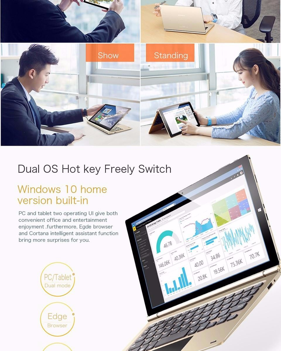 10.1 Inch1920x1200 Teclast Tbook10s Tbook 10s Dual OS Win10 Android 5.1 Tablet PC Intel Cherry Trail Atom X5 Z8350 4GB 64GB