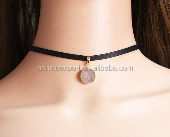 Suede Strap Choker with Natural Druzy stone Charm Choker