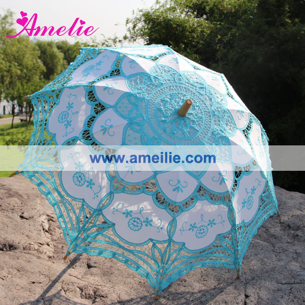 Embroidery Blue Lace Parasol Wedding