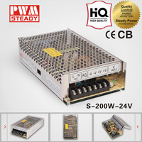 CE Approved 24V 8A ac/dc 200W power led switching power supply S-200-24