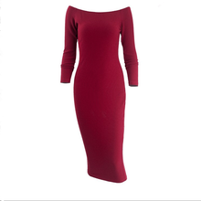 Wholesale Hot Sale Elastic Knit Boat Neck Long Sleeve Sexy Maxi Dress