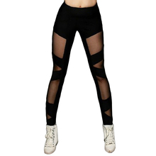 Womens Yoga Leggings Skinny Mid Waist Mesh Patchwork Elastic Sports Fitness Pants