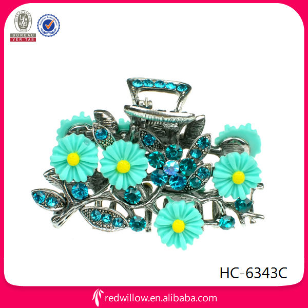 India popular handmade cheap plastic flower metal hair claw clips