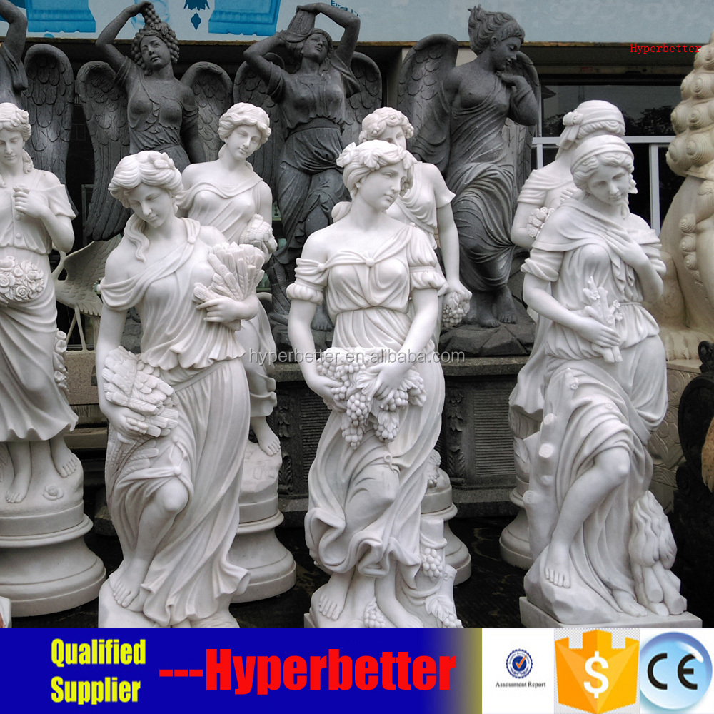 White marble lady statues