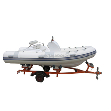 (CE) Pvc 4.2m inflatable catamaran fiberglass rigid rib outboard motor fishing boat rib420c white