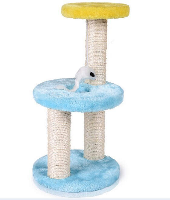 Plush and sisal cat scratcher tree ,pet toy