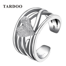 TARDOO Heart Shape Finger Girl Nail Sand Embellish Wedding Jewelry Joyas de plata 925 Anillo 925 Sterling Rings for Women Silver