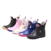 natural rubber ankle elastic gore chelsea style flamingo print fashion warm winter antumn rain shoes overshoes galoshes