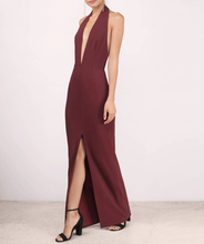 Halter neck backless long maxi sexy revealing evening dresses women with slit