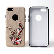 Latest fashion style mobile accessories , phone case with enbroidered flower for samsung A3 A5 A7 2017