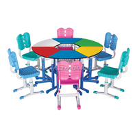 Adjustable Combined Cambered School Desk and Chair Sets/School Furniture/Colored table and Chair