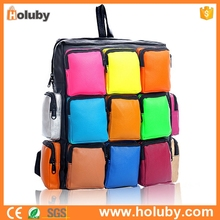 China Supplier Colorful Squared Up PU Leather Backpack, Women Student school bag, good quality polyester backpack