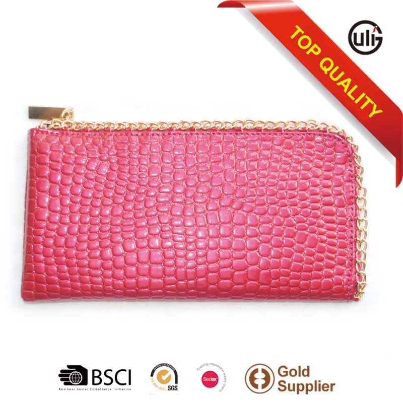 Cheap stone pattern lady clutch purse with woven chain