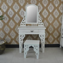 Vanity White Dresser Table Makeup Desk with Mirror and Stool Set