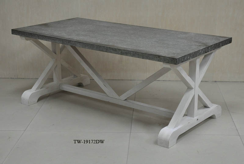 Antique solid wood furniture metal top coffee table