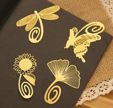 cute korea leaf flower dragonfly butterfly custom shape wedding bookmark brass etching crafts copper gold plate metal bookmark