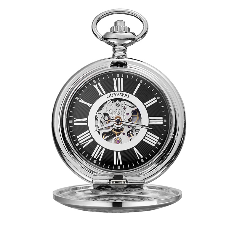 Top Sale Cheap Price Custom Logo Roman Number 3Atm Waterproof Stainless Steel Chain Automatic Skeleton Gear Pocket Watch