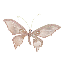 Golden Christmas ornament decorative butterfly with clip