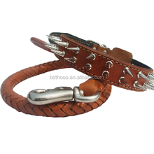 High quality handmade real leather best discount dog collar and leash