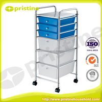Colorful Drawer Storage trolley office plastic organizer cart