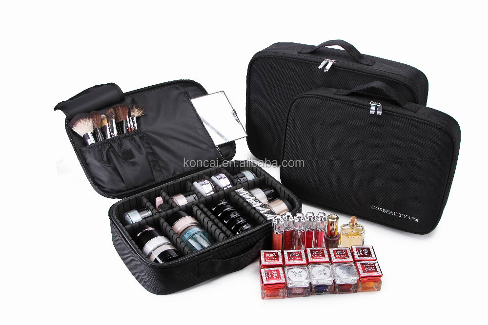 2017 Fashion high quality & competitive trolley cosmetic nylon makeup case
