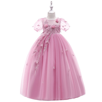 S34910W Lace Girls Dress For Wedding and Party Dresses Evening Girl long Costume Princess Dress
