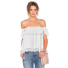 Plain Off The Shoulder Blouses, Hollow Lace Pleated Women Clothing